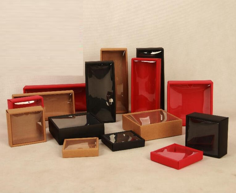 Kraft Cardboard Box Caixa gift Packaging box with lid red black Paper Box Jewelry Gift packaging box with clear pvc window