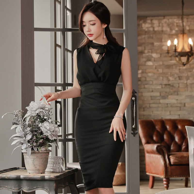 2018 Summer Women Sexy Cloth Sleeveless V-Neck Chiffon Patchwork Bodycon Knee-Length Black Pencil Party Dress