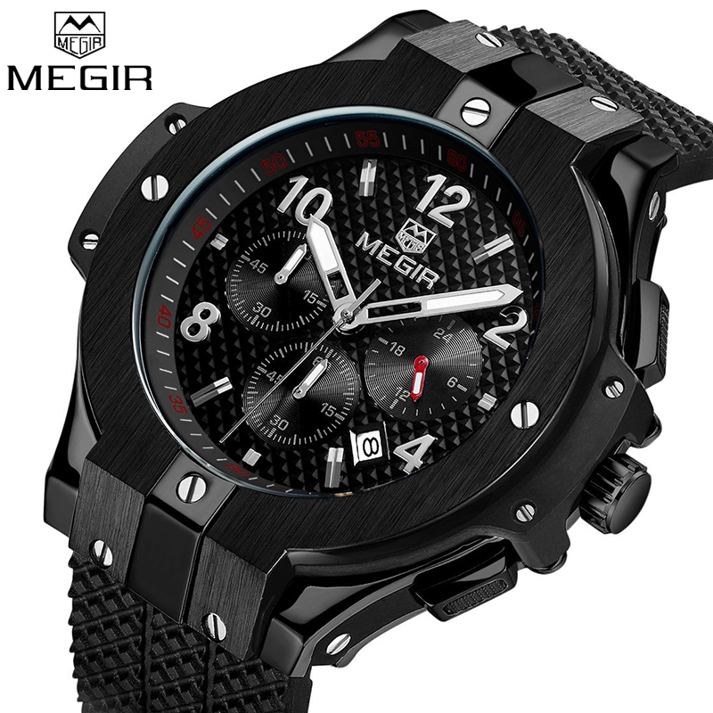Top Luxury Brand MEGIR Men Sport Watches Quartz Chronograph Wrist watch Mens Army Military Waterproof Watches Relogio Masculino megir mens chronograph 6 hands 24 hours function sport wrist watches luxury silicone military quartz watch man relogio masculino