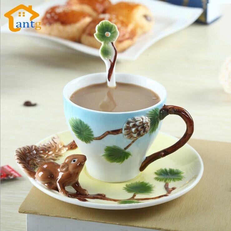 3D veverka čisté ručně malované smalt kávu hrnek pohár individualita kreativní hrnky Páry kávového šálku