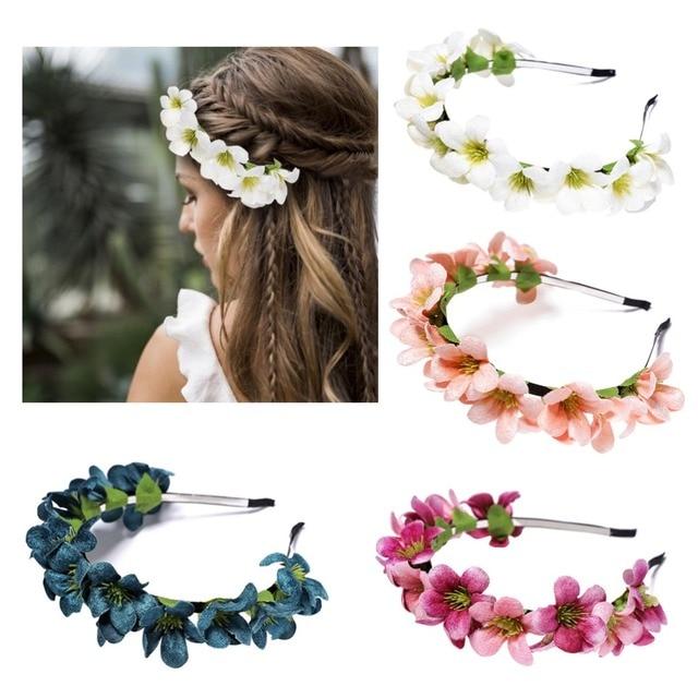 M MISM Womens Flowers Hair band Floral Garland Wreath Princess Ladies Sweet Tiara Hair Hoop Girls Hair Accessories Headbands