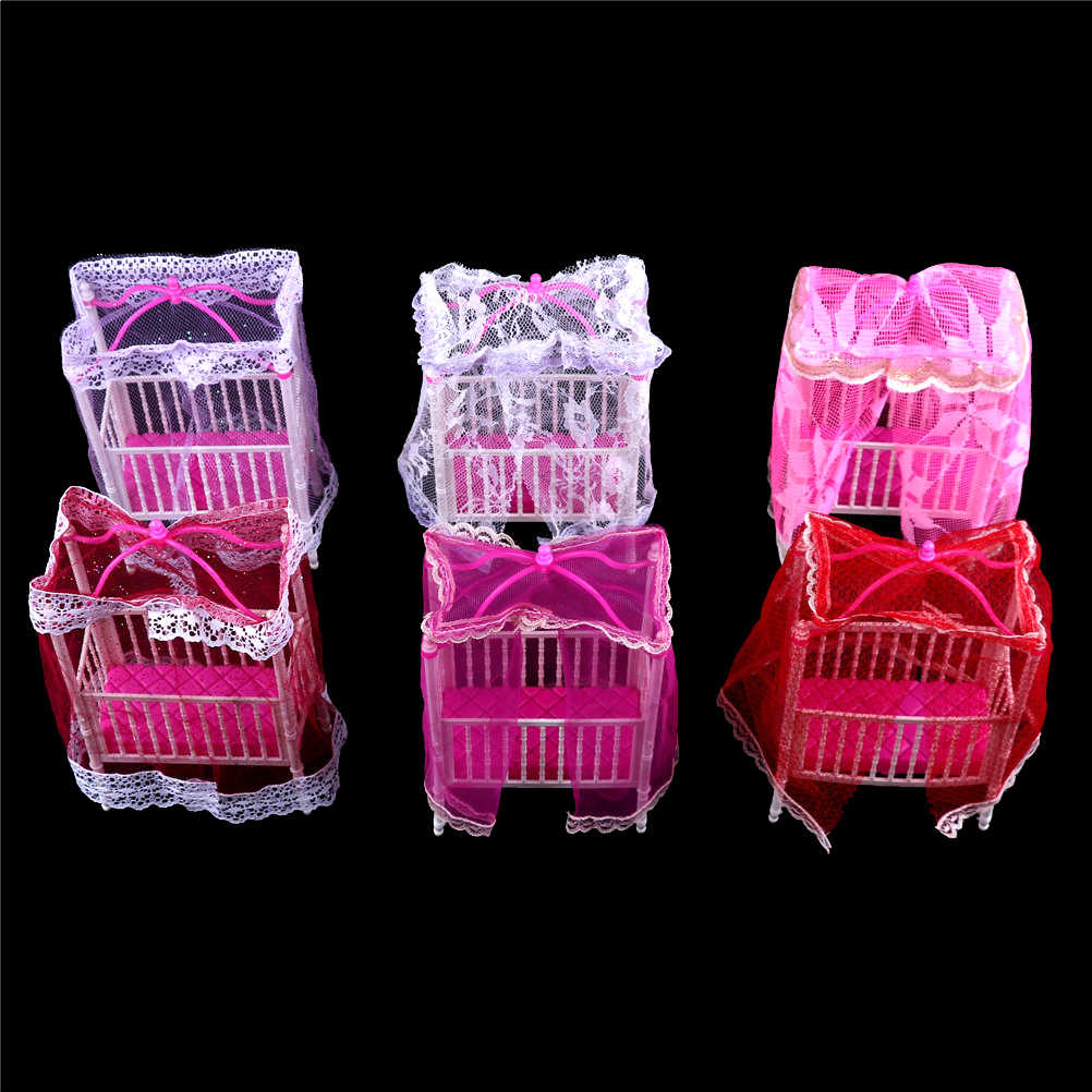 1PC Plastic Cot Bed with Bed Net Dollhouse Miniature Furniture for girl Dolls Color Randomly  Kawaii Dollhouse Bedroom Decor