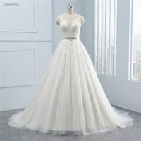 Amazing Real Photo Wedding Dress 2018 A lin V neck Sleeveless Court Train Plus Size Vestidos De Novia With Sashes Lace Appliques
