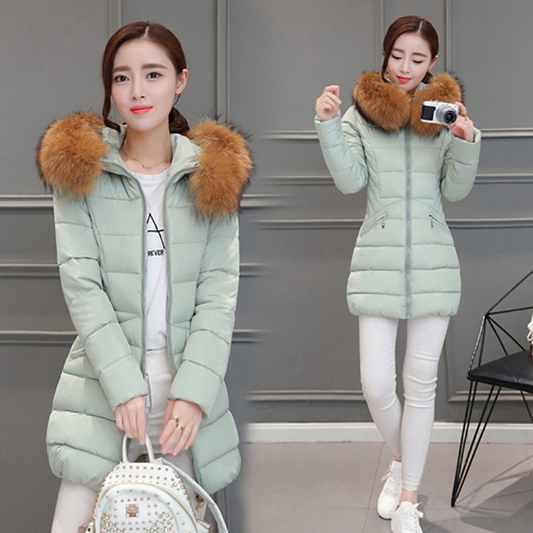 Cotton coat 2017 Spring and winter the new Korean women's fashion Slim thick warm long hair collar down jacket lucky panda 2016 the new winter coat and female slim in the long and small lattice fragrant cotton lkp243