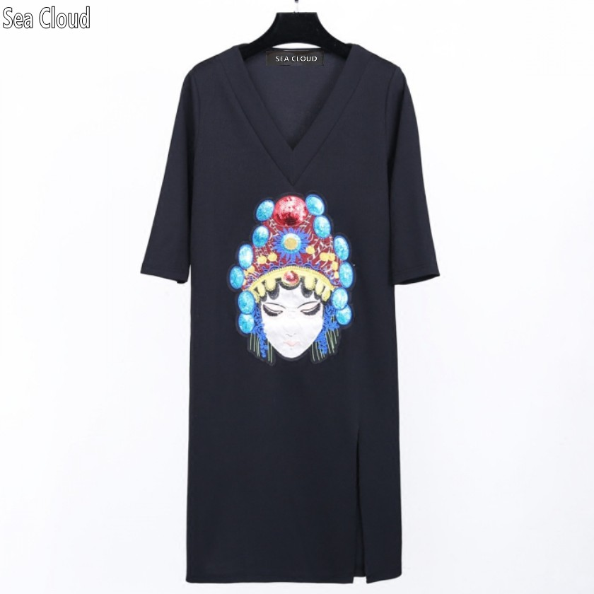 82 été 2017 grande taille trois-quarts manches vêtements col en v broderie place style chinois longue robe 4xl 100 kg