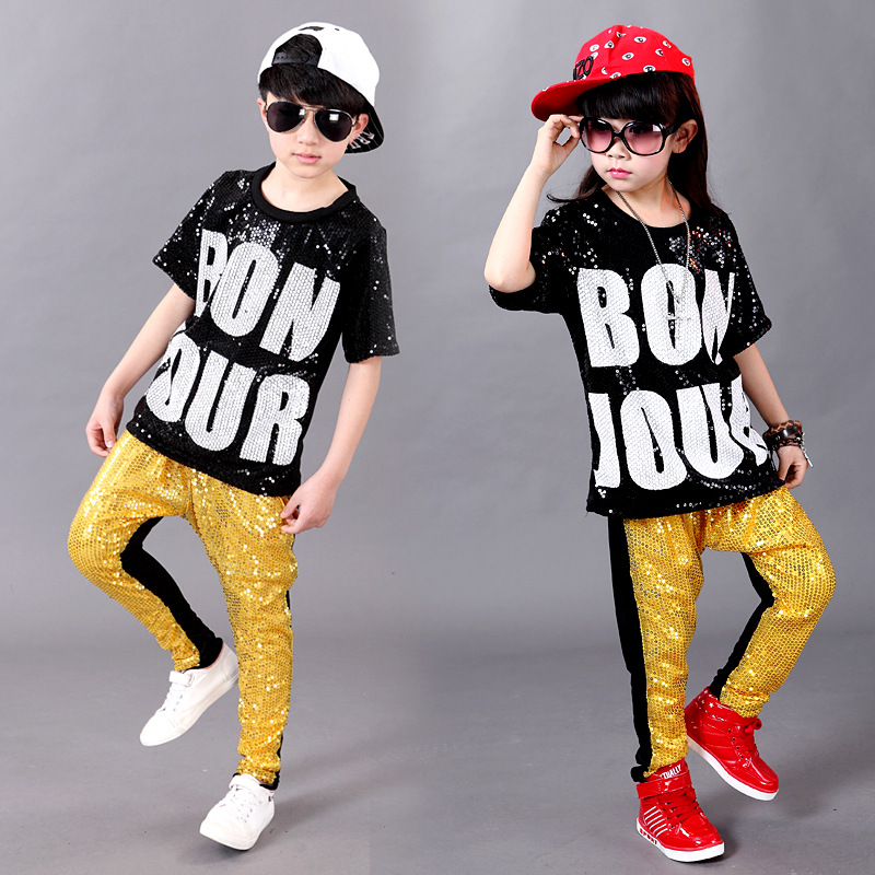 Kids Boys Long Sleeve Sequin Shirt Disco Hip-hop Jazz Dance Tops Stage Costumes