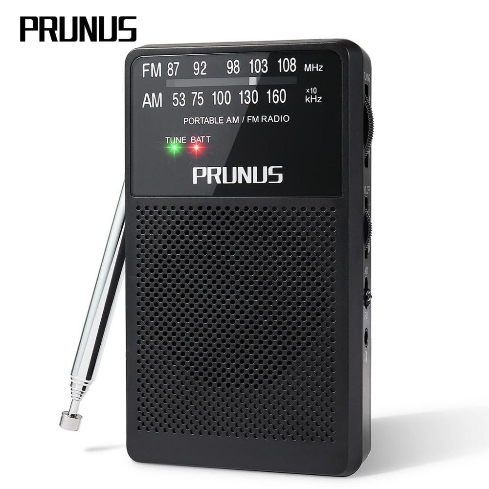 PRUNUS ANJIAN-A166 Mini Radio Portable AM/FM Stereo Pocket Radio Ultra-Long Antenna Receiver Replaceable Battery (AA) black