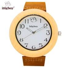 IBigboy Negocio De Madera Reloj de Madera De Arce Blanco Dial Japón Movimiento de Cuarzo Correa de Cuero relojes de Pulsera de Regalo IB-1610La