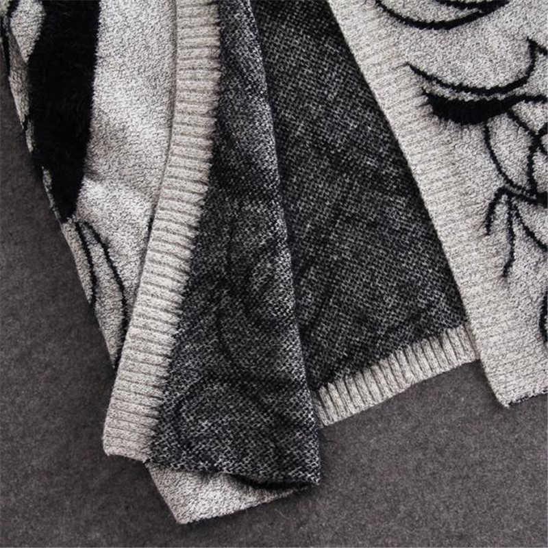 2019 Европейский большой весна осень абстрактный узор рукав летучая мышь женский длинный кардиган, свитер толстое пончо летучая мышь SW147
