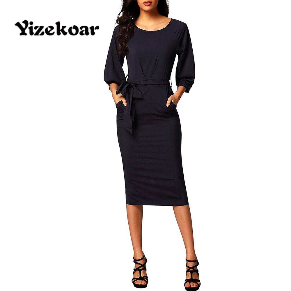 Shop2310007 Store Yizekoar Autumn Office Lady Black Chiffon Pencil Dresses New Puff Sleeves Mid Calf Dresses for Female Bodycon Business Dress