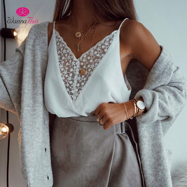4503c808b1900 WannaThis Sexy White Lace Camisole Tops Women V-Neck Sleeveless Strap Tank  Top Casual Fashion