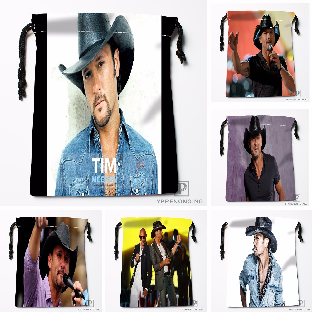 Custom Tim Mcgraw Drawstring Bags Printing Travel Storage Mini Pouch Swim Hiking Toy Bag Size 18x22cm