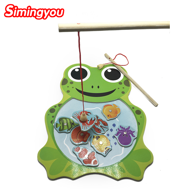 Simingyou Fajátékok Béka Macska Mágneses horgászat Oktatási játékok Rejtvények gyerekeknek QZF01