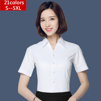 Summer white short-sleeved shirt OL 2016 Hot Women fashion white blouses work wear Office Tops casual Plus Size shirts S-5XL Women Shirts