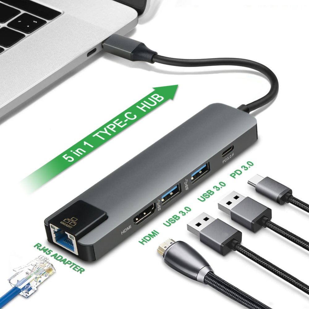New 5 in 1 USB Type C Hub Hdmi 4K USB C Hub to Gigabit Ethernet Rj45 Lan Adapter for Mac book Pro Thunderbolt 3 0 USB C Charger in USB Hubs from Computer Office