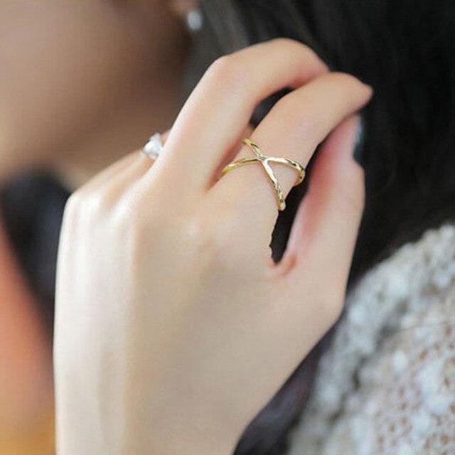 ของแข็งกลวงแหวนข้ามร่วมกันแหวนนิ้วZ4017เครื่องประดับเกาหลีหญิงดาว