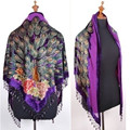 Free Shipping Purple Women's Triangle Velvet Silk Beaded Embroidery Shawl Scarf Peafowl     SW09-D