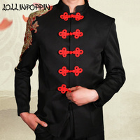 Mens Mandarin Collar Suit Jacket Sequin Jackets Chinese Knots Frog Closure Wedding Jacket Embroidery Red Tang Suit Jacket