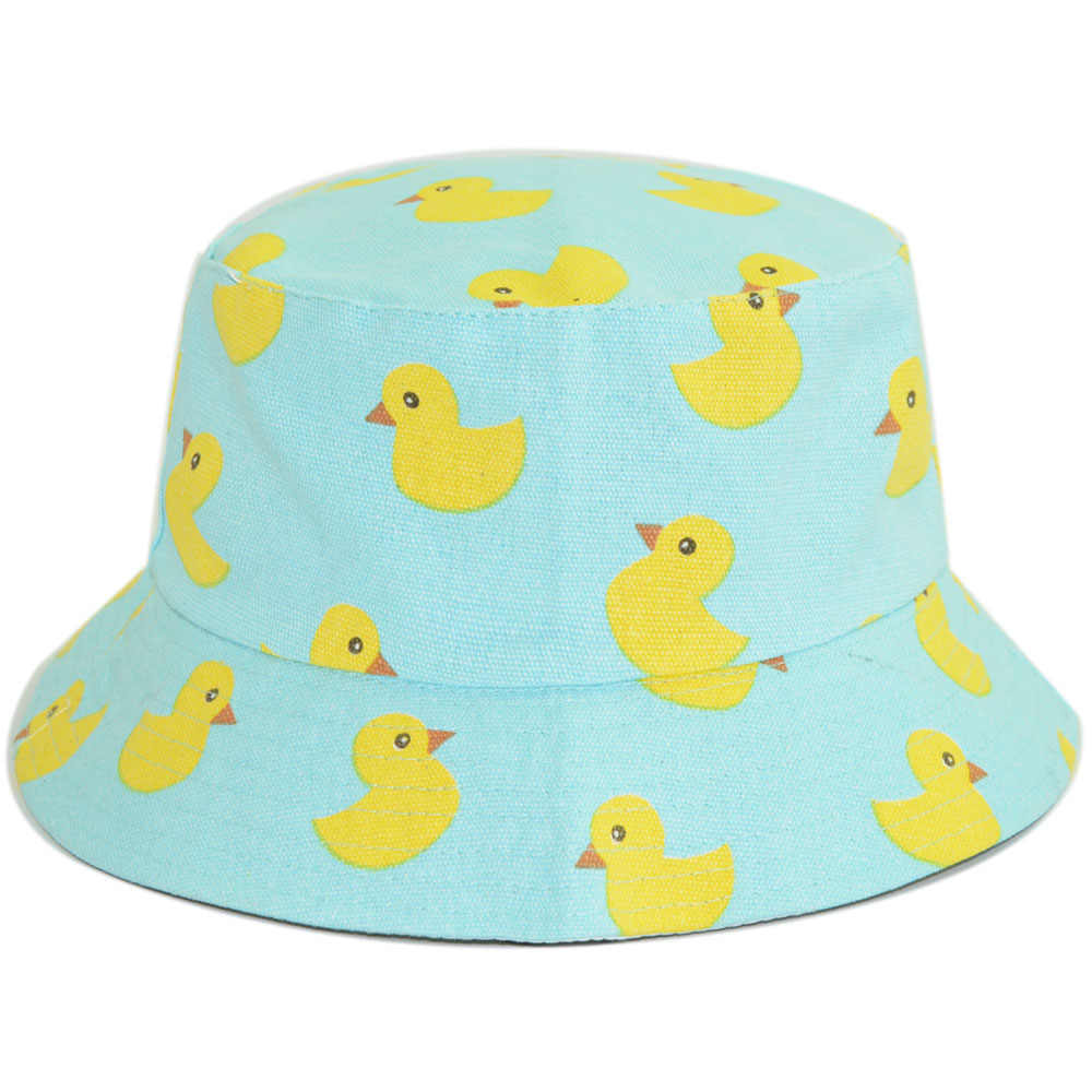0210d41f ... Unisex Cotton Reversible Bucket Hat for Women Men Summer Autumn Duck  Double Layers Printed Panama Hat ...