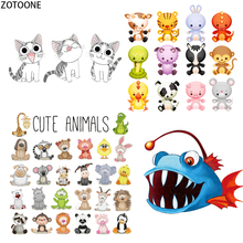 ZOTOONE Cute Cartoon Animals Patches for Clothing Iron on Transfer Patch Applique Diy Feat Stickers Clothes Badges E