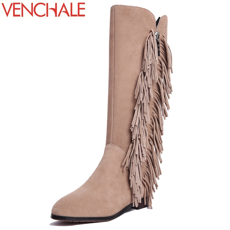 VENCHALE knee-high boots special retro round toe comfortable fashion leisure side zipper tassel women winter necessary boots retro tiny bell tassel anklet for women
