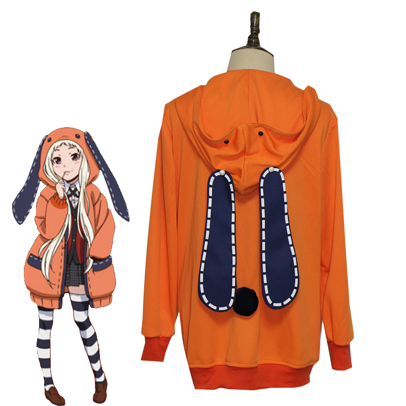 Anime Kakegurui Compulsive Gambler Runa Yomozuki Cosplay Costume Halloween Carnival Uniform Cute Rabbit Ears Hoodies Custom
