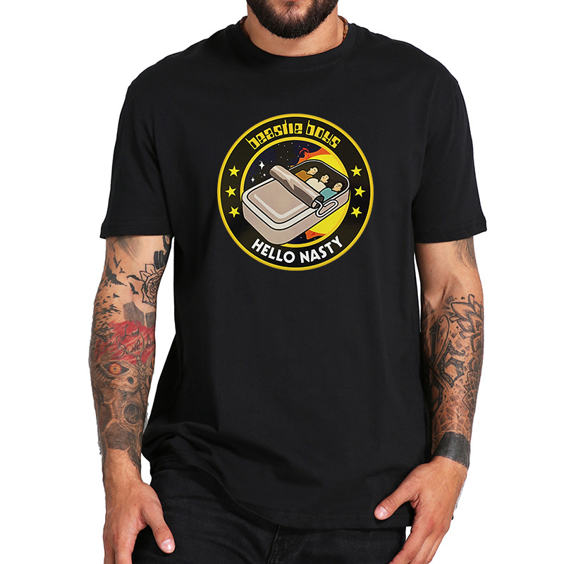 EU Size 100% Cotton T Shirt Beastie Boys Album Hello Nasty Hip Hop Music Men Tshirts Fashion Casual O-Neck Breathable Tops