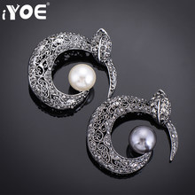 IYOE Vintage Imitation Pearl Rhinestones Brooch Jewelry Black Gun Color Leaf Crystal Brooches Women Scarf Pin Dress Accessory(China)