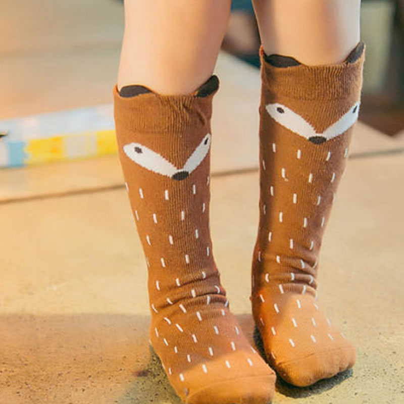 1 Pair Cotton Baby Socks Fox Cute Knee Warm Floor Socks From 0-4 Years For Boy Girl Non-slip