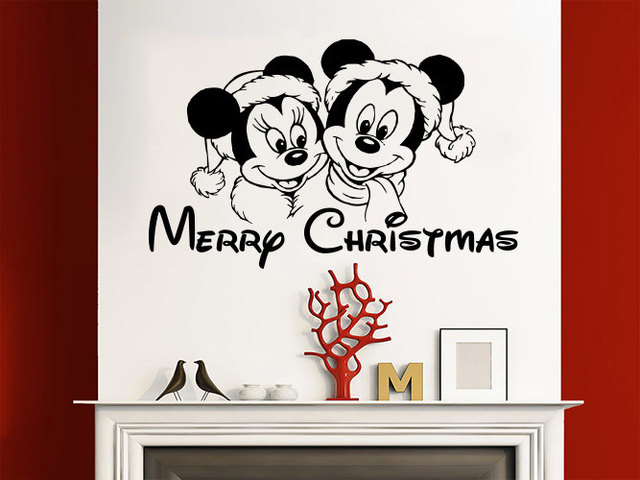 merry christmas wall decals happy new year vinyl sticker decal mickey mouse home decor art wall - Merry Christmas Mickey Mouse