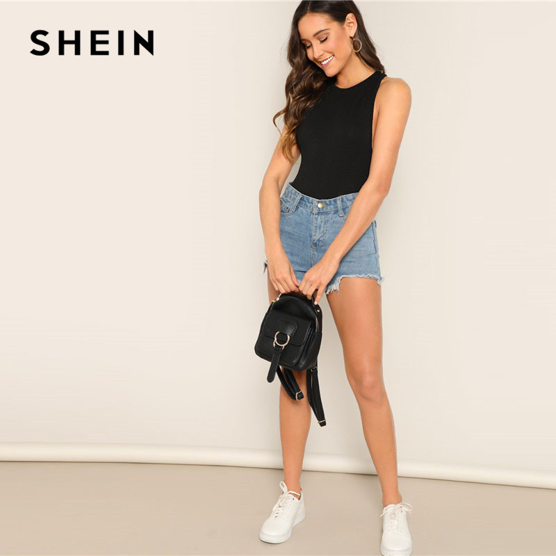 6452593ba6 SHEIN Lady Sleeveless Black Form Fitted Tank Solid Bodysuit Minimalist  Stretchy Summer Women Casual Streetwear Bodysuits-in Bodysuits from Women's  Clothing ...
