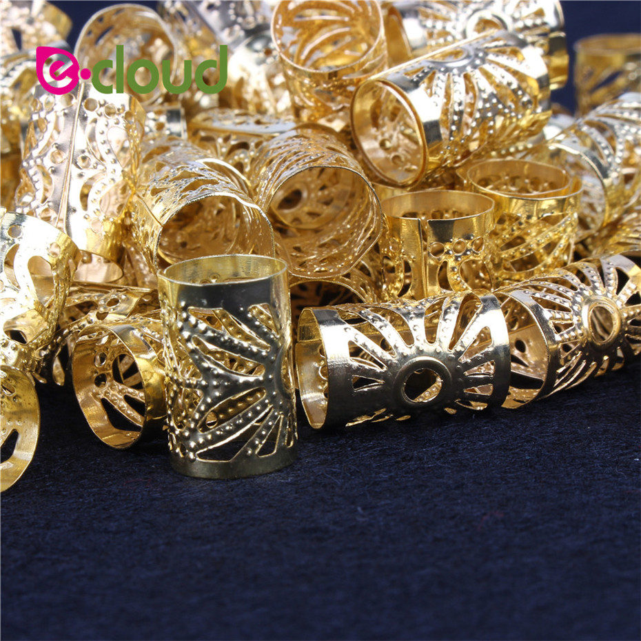 2018 Hot 100Pcs/Lot Golden/Silver hair dread Braids dreadlock Beads adjustable cuff clip approx 15mm hole ...