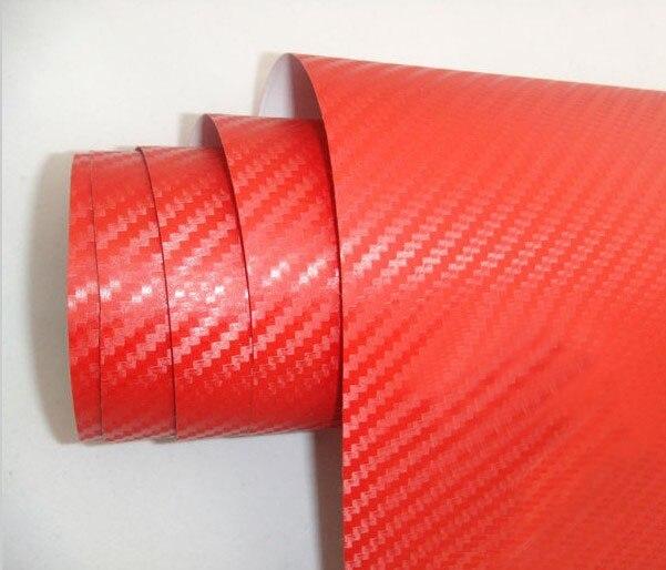 Высокое качество 3D виниловая наклейка из углеродного волокна для автомобиля 3D углеродная оберточная наклейка с воздушными пузырьками 1,52*5 м/рулон - Название цвета: red