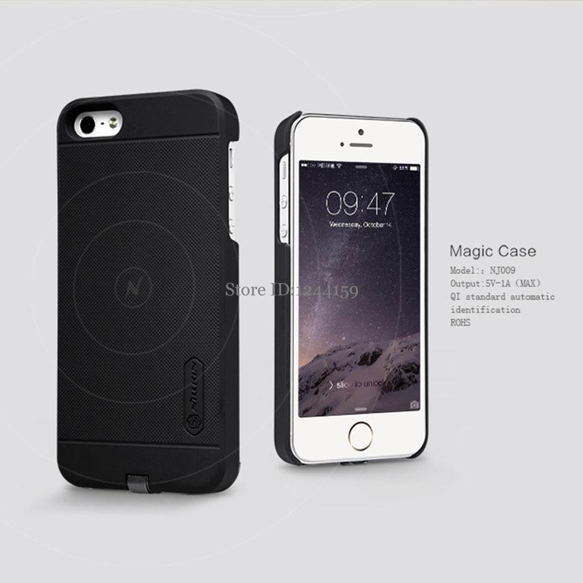 imágenes para Nillkin Magia Lujo Estándar de Carga Inalámbrica Receptor de Protección Cubierta Posterior Para el iphone de Apple SE 5S/5 Teléfono Mate Cases