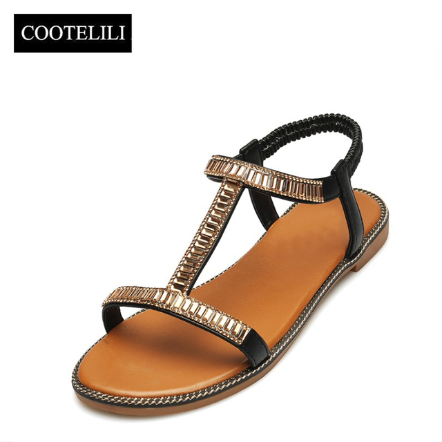 COOTELILI 35-39 Fashion Woman Shoes Sandals Gladiator Crystal Flat Sandals Open Toe Low-heeled Women Shoes Girls Summer 2 Colors