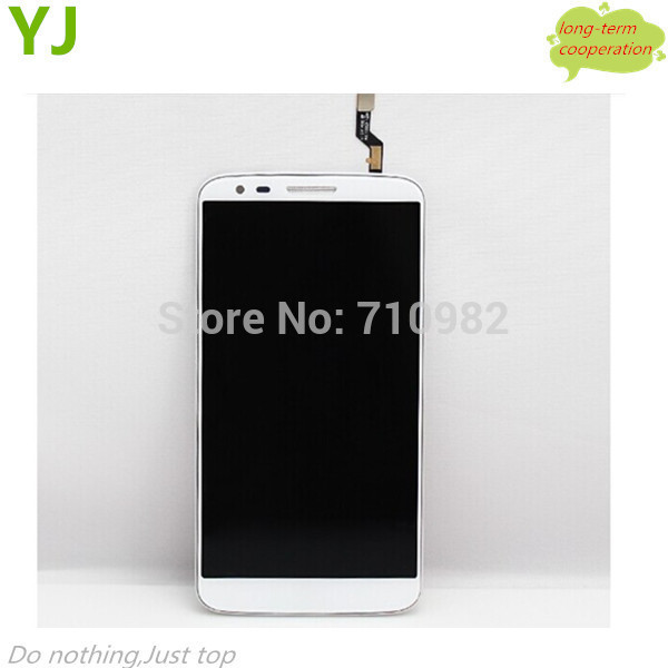 HK free 100% Tested OEM lcd screen and Digitizer Assembly for LG G2 D802 touch screen with front frame in white