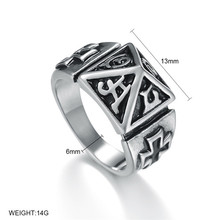 Punk Men Cross Triangle Eye of Providence Illuminati Pyramid All Seeing Stainless Steel Male Ring Jewelry