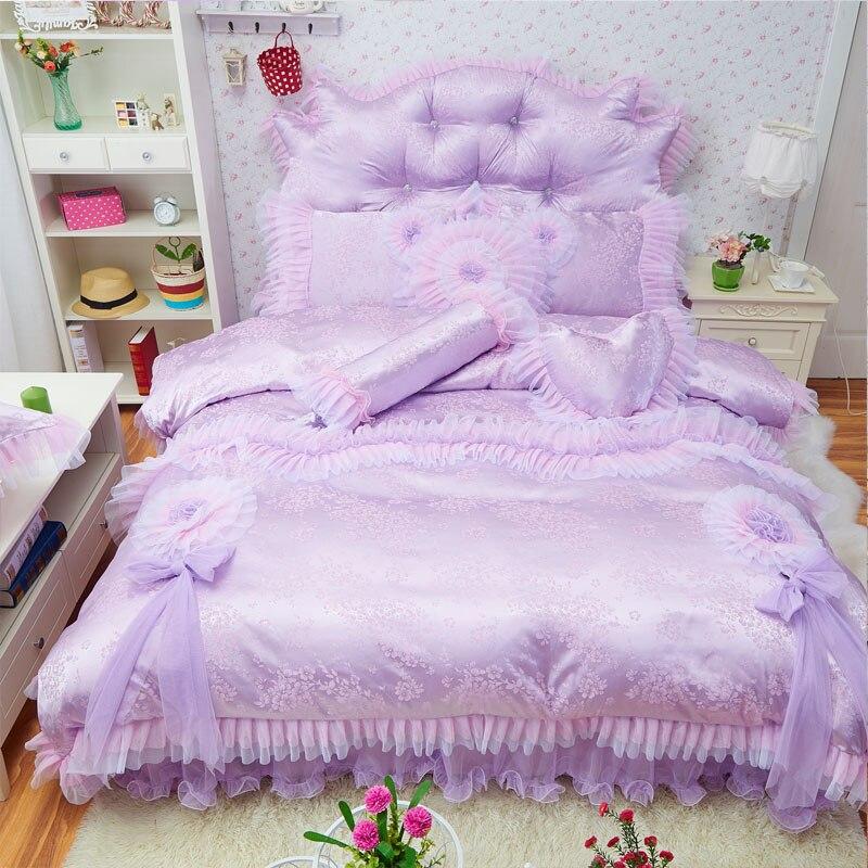 Purple Pink Princess Luxury Bedding Set Silk Cotton Twin Queen King size Bedskirt sheets Duvet Cover ropa de cama parure de litPurple Pink Princess Luxury Bedding Set Silk Cotton Twin Queen King size Bedskirt sheets Duvet Cover ropa de cama parure de lit