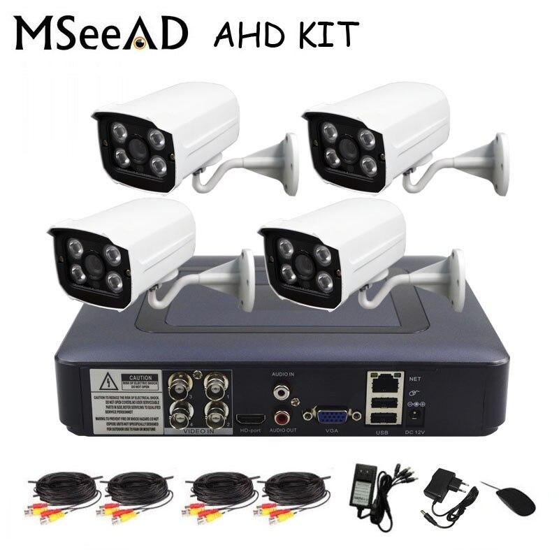MSeeAD 2mp AHD Kit 4 canaux système de vidéosurveillance 4CH Mini DVR pour Kit de vidéosurveillance XMEYE 1080 P IR balle extérieure AHD caméra système de sécurité VGA