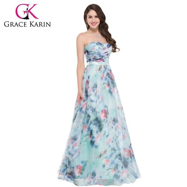 Gracia Karin Vestido de Noche Flor Estampado de flores de impresión ...