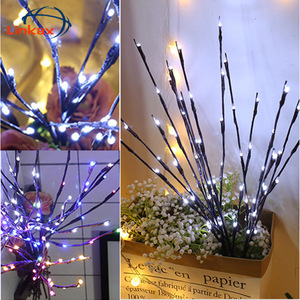 LED Lighted Branch Lighting Twig Willow Tree Branch Floral Lamp Battery Operated Home Party Vase Christmas Halloween Decoration(China)