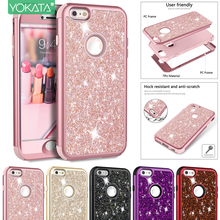 Luxury Hard Case For iPhone 6 6S 8 7 Plus Glitter Bling Crystal PC Cover Silicone Cute