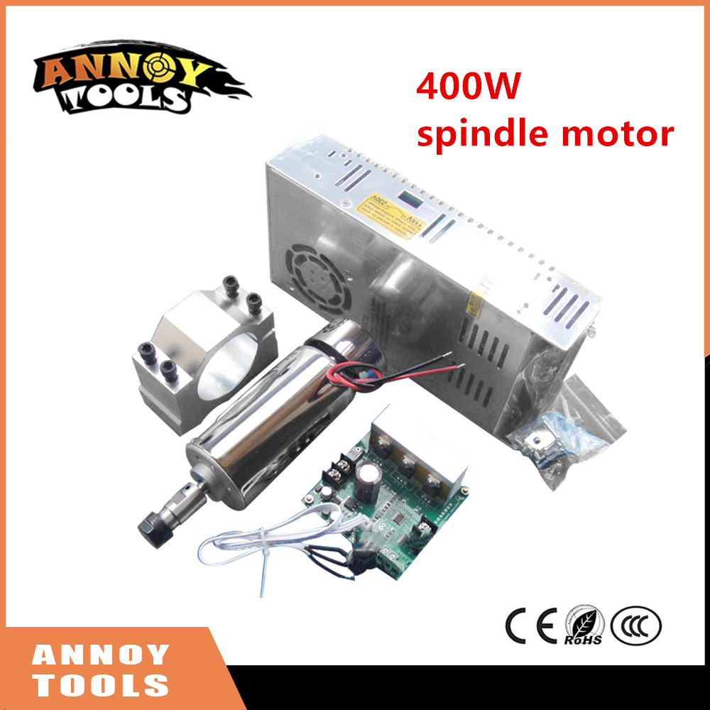 New 400W DC12-48V CNC Air Cooled Spindle Motor+ ER11 chuck+Mach3 Speed Governor Regulator+Mount Bracket+power supply for CNC new product 220v 2 2kw cnc air cooled spindle motor er16 air cooling 4 bearing
