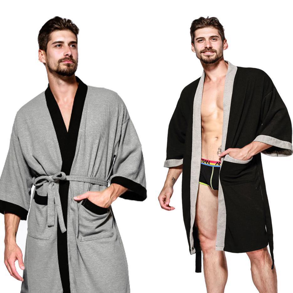 Men Casual Solid 2019 Spring Autumn New Robe Sleepwear Lovers Bathrobe Women Kimono Gown Loose Intimate Lingerie Robes