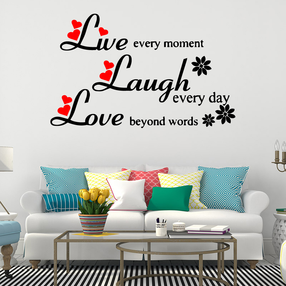 Live Laugh Love Quotes Wall Sticker Wall Decorations Living Room Bedroom Stickers Mural Home Decorations Removable Wall Decals Wall Stickers Aliexpress