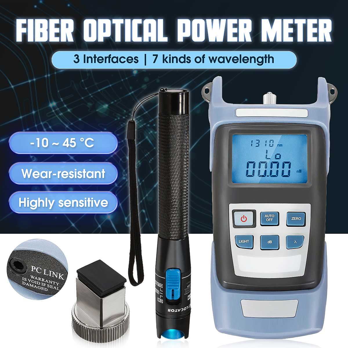 Handheld New Optical Power Meter + Locator Fiber Optic Cable Tester 10 km Visual Fault Optical Multimeter Handheld + Red PenHandheld New Optical Power Meter + Locator Fiber Optic Cable Tester 10 km Visual Fault Optical Multimeter Handheld + Red Pen