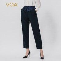 VOA темно синие сплайсинговые модные классические удобные шелковые брюки со средней талией K995