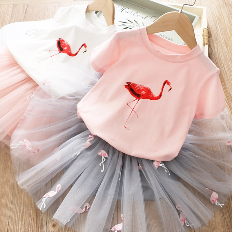 Baby Girls Clothes Sets 2pcs New Flamingo Pattern Dress For Girls 3 To 8 Years Kids Clothing Cotton Casual Wear Mesh Tutu Dress