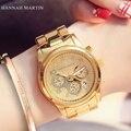 HM Золотая роза Женщины часы Лучший Бренд Вскользь Кварцевые Часы Из Нержавеющей Стали водонепроницаемый Дамы Простые часы relogio feminino