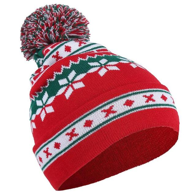 ae9cc9bae72 Winter Christmas Snowflake Knitted Beanie Cap 2018 Women Female Hat Pompom  Warm Wool Hats Caps Xmas Casual Accessories Gift